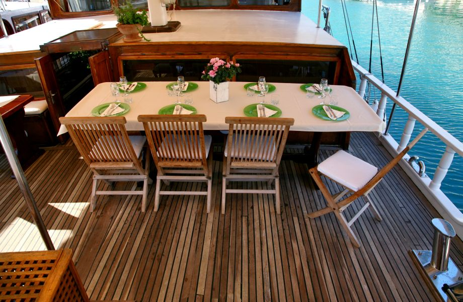 Dining area on Atlantia Gulet with Maestral Travel Agency
