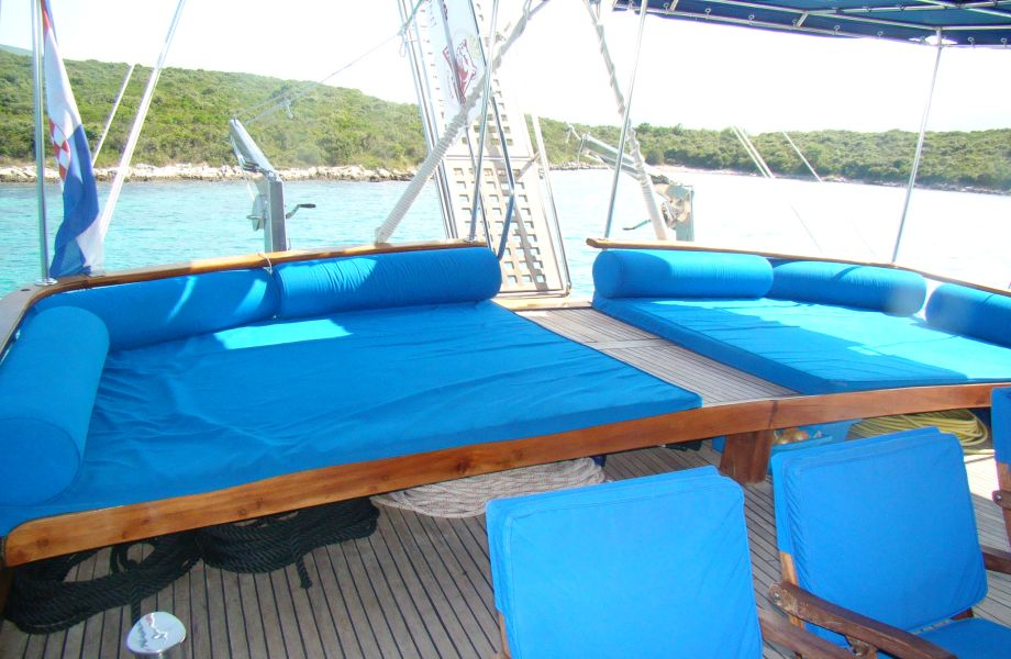 A deck on San Gulet with Maestral Travel Agency