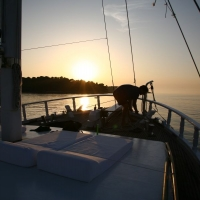 Deck of Atlantia Gulet on sunset with Maestral Travel Agency