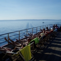 Taking sun on the deck with Maestral Travel Agency