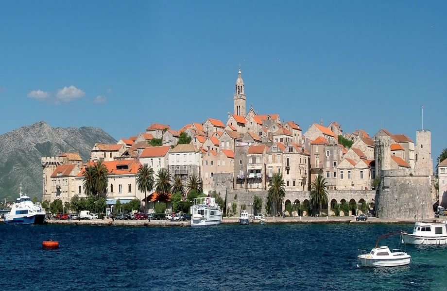 The fortified city of Korcula, Island Korcula, Croatia with Maestral Turist Agency