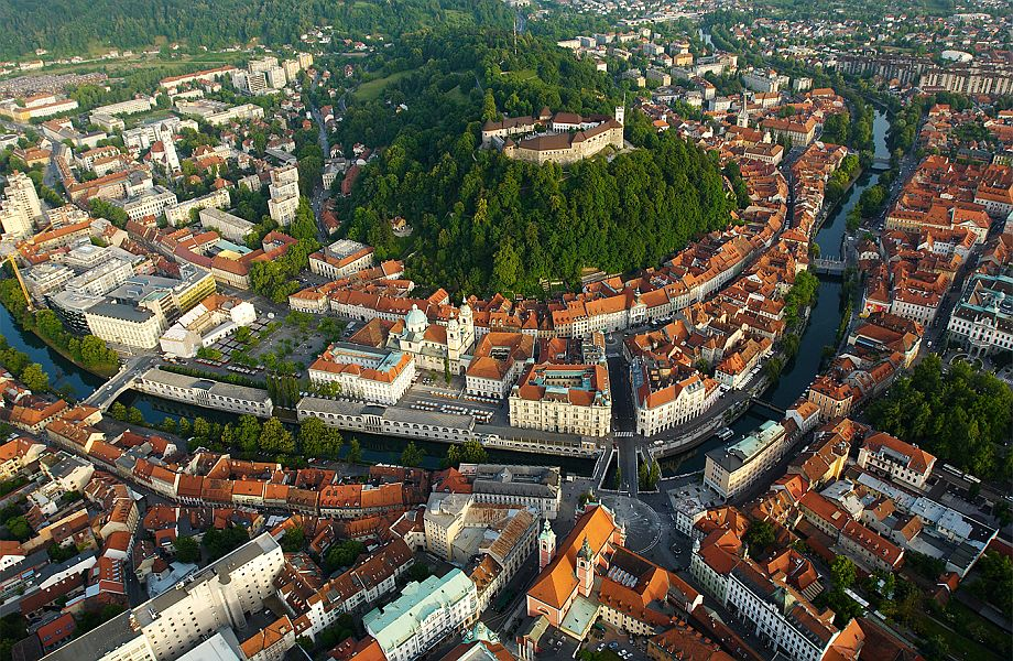 Air view of Ljubljana castle with Maestral Travel Agency