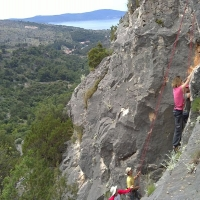 Rock climbing on Island Brac, Croatia with Maestral Turist Agency