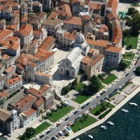 Aerial view of St. Jacob Cathedral in Sibenik, Croatia with Maestral Turist Agency