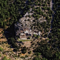 Air view of Monastery Blaca, Brač with Maestral Travel Agency